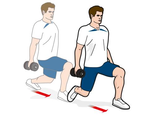 Упражнение A2: шаги-выпады вперед
