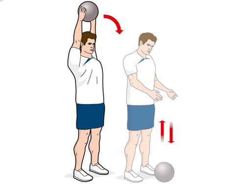 Упражнение B3: броски на землю 5-киллограмового медицинского мяча