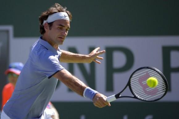 Фото: швейцарец Роджер Федерер на турнире в Индиан-Уэллсе