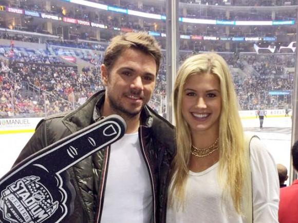 Фото дня: Станислас Ваваринка и Эжени Бушар на хоккее