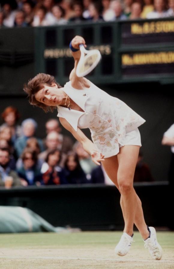 Мартина Навратилова в 1977 году на турнире Большого Шлема Уимблдоне