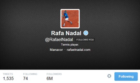 Испанец Рафаэль Надаль стал рекордсменом в Твиттере
