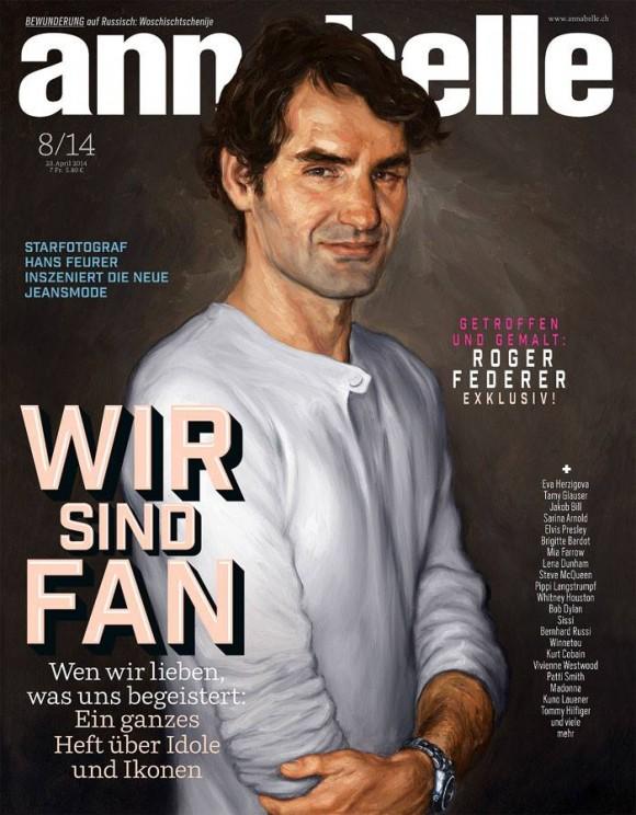 Нарисованный Роджер Федерер появился на обложке журнала