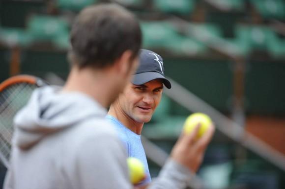 Фото: тренировка Роджера Федерера на Ролан Гаррос